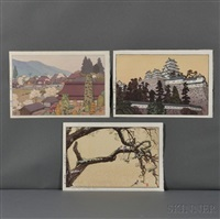 village of plums; castle at himeji; plum tree and blue magpie (3 works) by toshi yoshida
