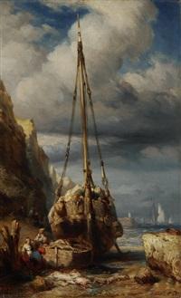 segelschiff am strand mit abgeladenen waren by jules achille noel