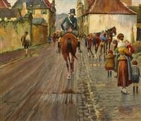 mutter mit kindern bestaunen reiter in der düsseldorfer altstadt by theodor lindner