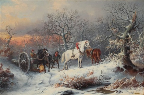 Winter Genre painting with Loggers and Work Horses by August Xaver