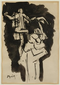 sketch for biblical scene by jacques lipchitz