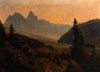 flusslandschaft (der junge rhein?) im hochgebirge mit figurenstaffage auf altem weg. by johann baptiste heinefetter