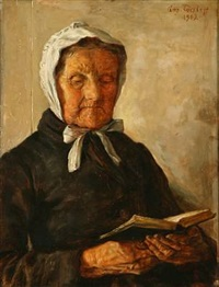 an old woman reads by august torsleff