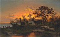 deer at sunset (sacramento valley?) by s.j. remington
