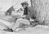 a u.s. cavalry officer seated in camp writing a letter by hollis williford