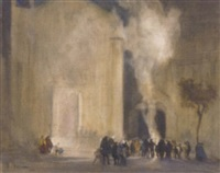 a cathedral fire with crowds gathering to watch in the foreground by r. h. kitson
