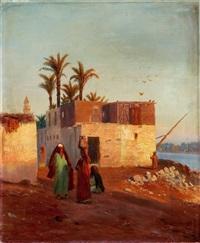 frauen beim wasserholen vor einer orientalischen stadt by otto pilny