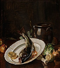 stilleben med fisk by axel peter