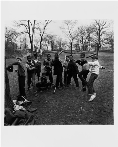 baseball game central park by diane arbus