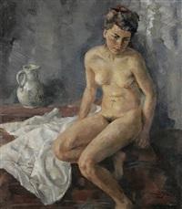 sitzender weiblicher akt mit untergeschlagenem rechten bein by conrad pfau