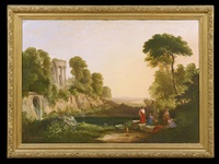 arcadian landscape with worshippers of pan by ambrose andrews