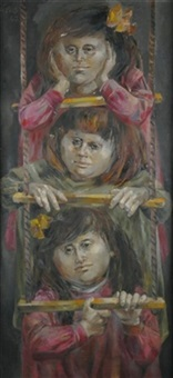 three girls on a ladder by enrique grau