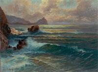 klippekystparti, solnedgang by franz waldegg