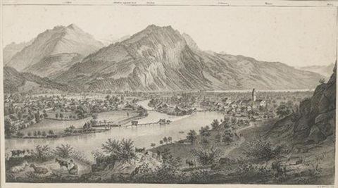 panorama de interlaken et unterseen prise de la goldeg on 2 sheets by rudolf huber