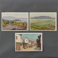 japan, rice field in suizu; village in harima; hikone castle in spring (3 works) by toshi yoshida