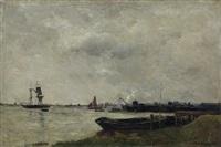 les bords de la tamise, temps gris by charles françois daubigny