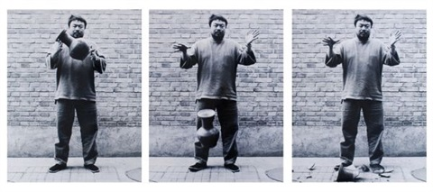 dropping a han dynasty urn set of 3 by ai weiwei