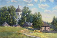 cottages in a summer landscape with a church beyond by nicolai alekseevich pinigin