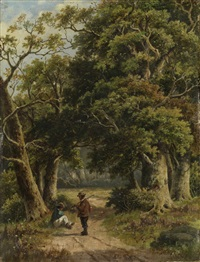 wanderer im wald (+ another; pair) by hendrik barend koekkoek