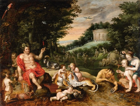 a bacchanalia in a wooded landscape by jan brueghel the younger