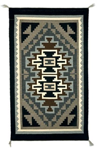 navajo, two grey hills rug by mildred natoni