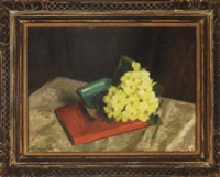 yellow primroses and red book by edward barnard lintott