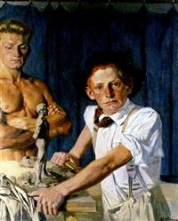 portrait gert wollheim als bildhauer by hans lietzmann
