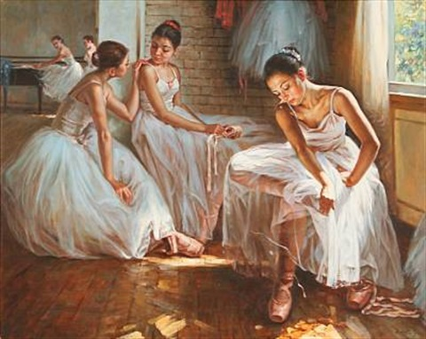 five ballet girls on a dancing school by alexander akopov