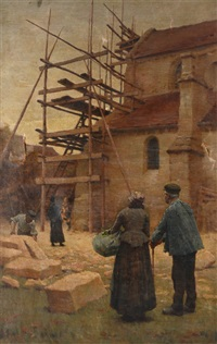 european village scene with construction scaffolding and villagers looking on by elmer boyd smith
