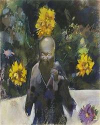 japanischer gelehrter (+ sonnenanbeterin; 2 works) by otto herbig
