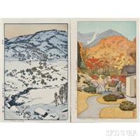 utumn in hakone museum; snow country (2 works) by toshi yoshida