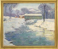 snow scene with covered bridge and stream by marie day alexander