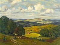 weite spätsommerliche landschaft im bergischen (?) by alfred rasenberger