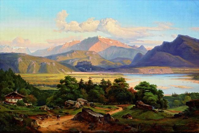 grosse landschaft am inn mit blick auf kufstein und das kaisergebirge by georg heinrich crola
