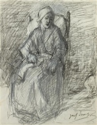 woman sitting in armchair by jozef israëls