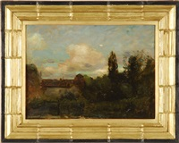 house in a landscape (+ girl in a park; 2 works) by paul cornoyer