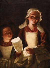 two girls with paper lanterns by dutch school (18)