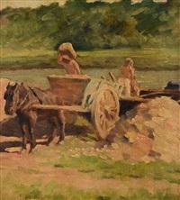 horse drawn cart crossing a stream by elmer boyd smith