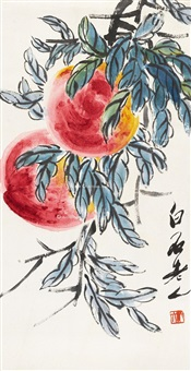 齐白石双寿图 立轴 设色纸本 by qi baishi