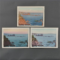 irozaki, morning; irozaki, day; irozaki, evening (3 works) by toshi yoshida