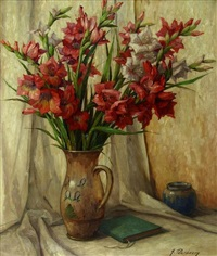 stilleben mit gladiolen in einem tonkrug by alfons peereboom