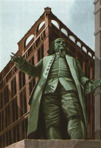 beneath uncle ben statue at printing house square by rolland harve golden