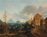 südliche landschaft mit einem kastell by jean victor bertin