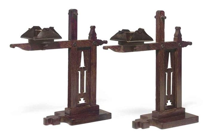 cresset candlesticks pair by charles rohlfs