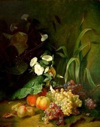 stilleben mit weintrauben, pfirsichen, pflaumen und einer trichterwinde by isidore julien legendre