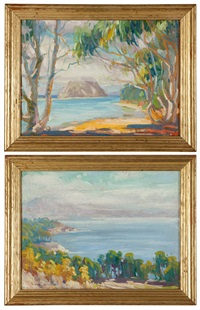 shoreline with trees and morro bay (2 works) by christian von schneidau