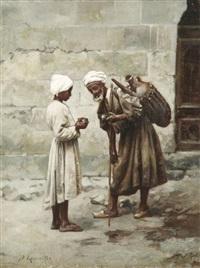 der alte wasserverkäufer in den straßen einer orientalischen stadt by léon jules lemaitre