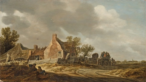 landscape with two carts by jan josefsz van goyen