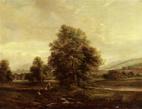 an extensive landscape with figures by a stream in the foreground by hb humphrys