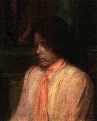 brustbild einer jungen frau mit rotem halstuch by elise goebeler